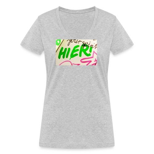 HIER! - Frauen Bio-T-Shirt mit V-Ausschnitt von Stanley & Stella