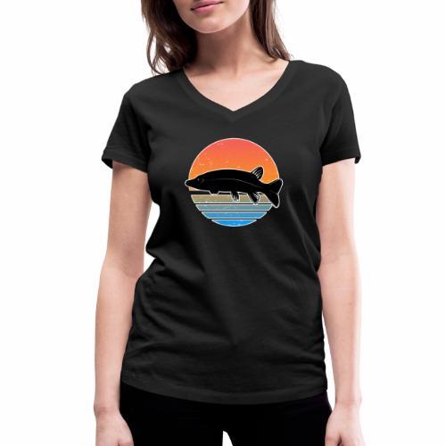 Retro Hecht Angeln Fisch Wurm Raubfisch Shirt - Frauen Bio-T-Shirt mit V-Ausschnitt von Stanley & Stella