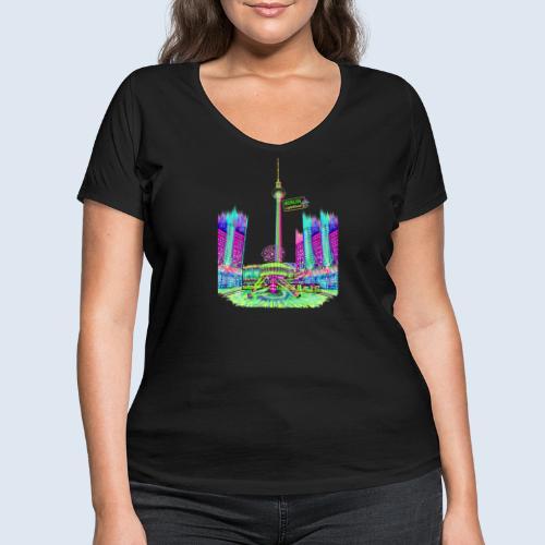 Alexanderplatz Berlin Popart ickeshop BachBilder - Frauen Bio-T-Shirt mit V-Ausschnitt von Stanley & Stella