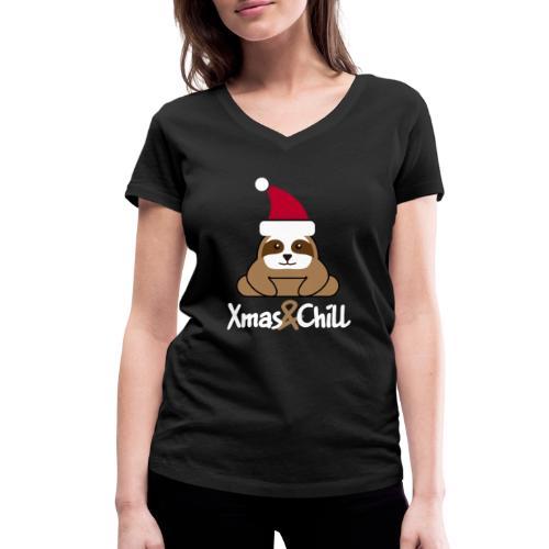 Faultier Weihnachten süß lustig Geschenk - Frauen Bio-T-Shirt mit V-Ausschnitt von Stanley & Stella
