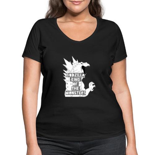 Godzilla - Ekologiczna koszulka damska z dekoltem w serek Stanley & Stella