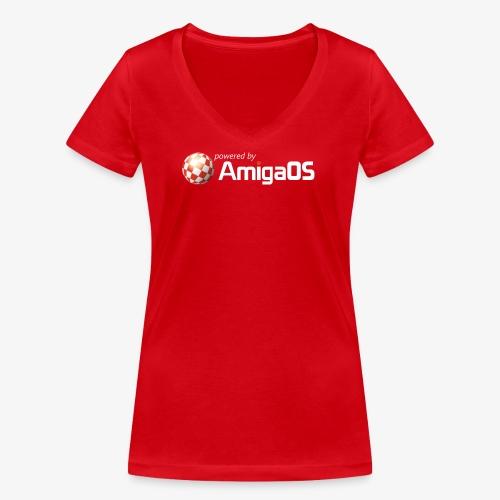PoweredByAmigaOS white - Women's Organic V-Neck T-Shirt by Stanley & Stella