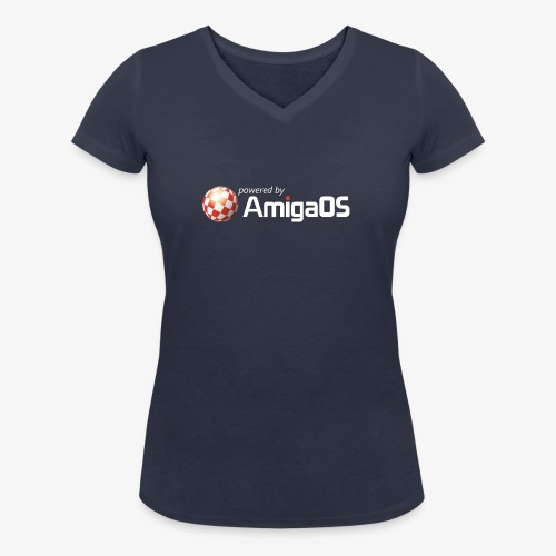 PoweredByAmigaOS white - Women's Organic V-Neck T-Shirt by Stanley & Stella