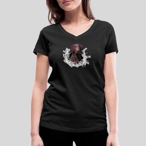 Curly Coated Liver im Glasloch - Frauen Bio-T-Shirt mit V-Ausschnitt von Stanley & Stella