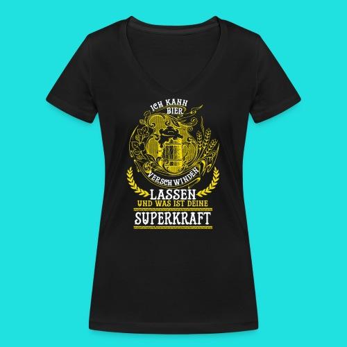 Bier Superkraft - Frauen Bio-T-Shirt mit V-Ausschnitt von Stanley & Stella