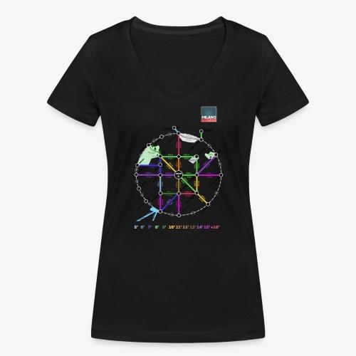 MetroMinuto Milano - T-shirt ecologica da donna con scollo a V di Stanley & Stella