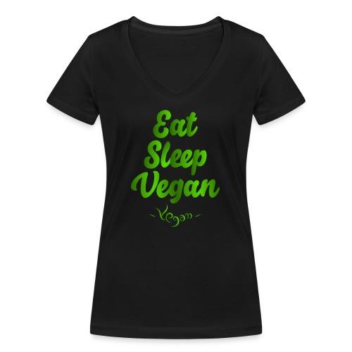 Eat Sleep Vegan - Stanley & Stellan naisten v-aukkoinen luomu-T-paita