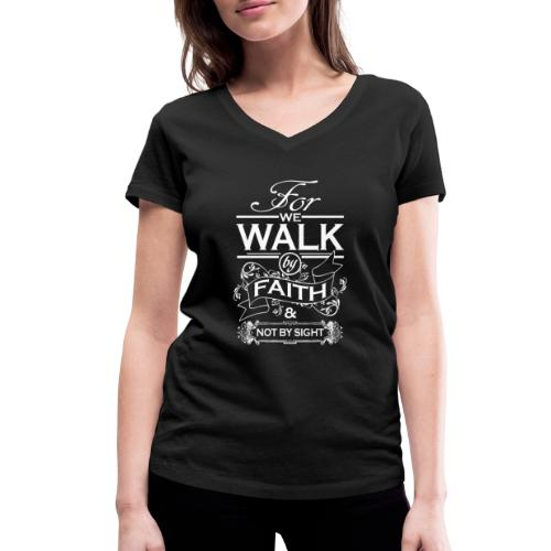 walk white - Women's Organic V-Neck T-Shirt by Stanley & Stella
