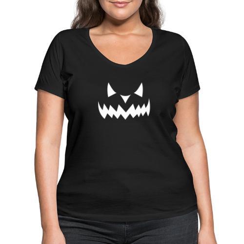 Pumpkin Face Halloween white - Frauen Bio-T-Shirt mit V-Ausschnitt von Stanley & Stella