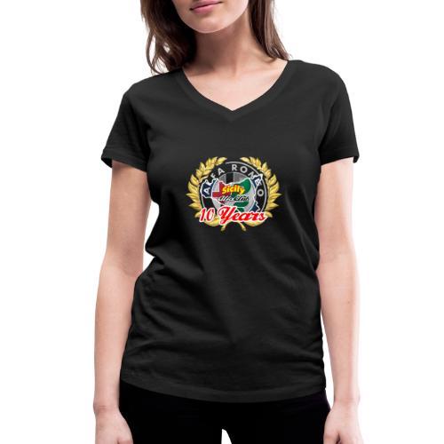logo10 anni - T-shirt ecologica da donna con scollo a V di Stanley & Stella