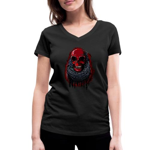 Red Skull in Chains - Women's Organic V-Neck T-Shirt by Stanley & Stella