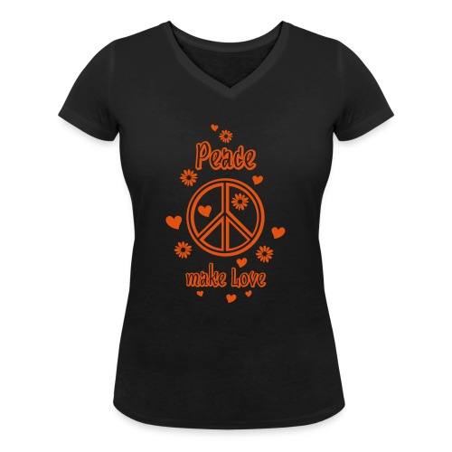 Peace make Love Frieden Liebe Herz Blumen Sommer - Women's Organic V-Neck T-Shirt by Stanley & Stella
