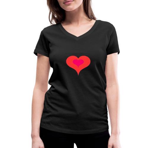 Corazon II - Camiseta ecológica mujer con cuello de pico de Stanley & Stella