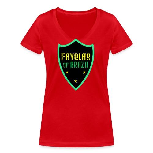 FAVELAS OF BRAZIL NOIR VERT DESIGN - T-shirt bio col V Stanley & Stella Femme