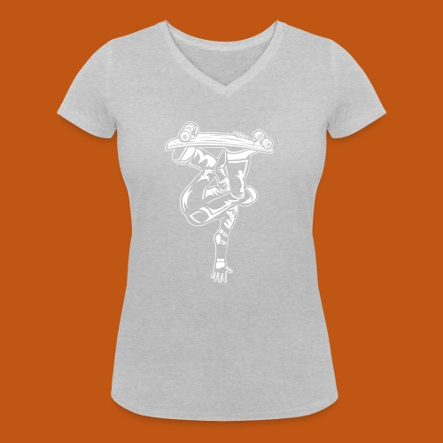 Skater / Skateboarder 03_weiß - Frauen Bio-T-Shirt mit V-Ausschnitt von Stanley & Stella