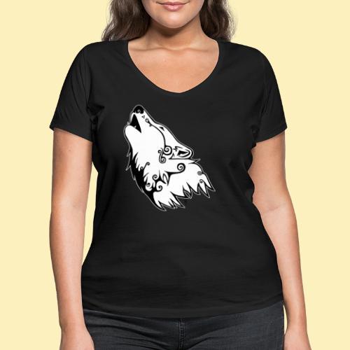 Le Loup de Neved (version contour blanc) - T-shirt bio col V Stanley & Stella Femme