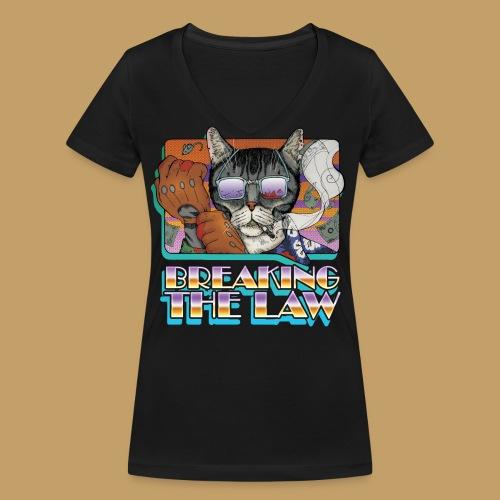 Crime Cat in Shades - Braking the Law - Ekologiczna koszulka damska z dekoltem w serek Stanley & Stella