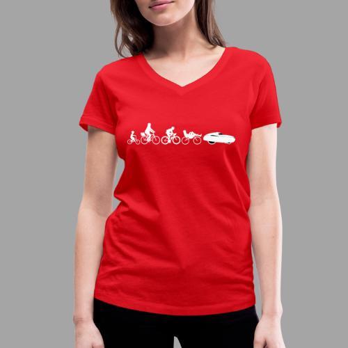 Bicycle evolution white - Stanley & Stellan naisten v-aukkoinen luomu-T-paita