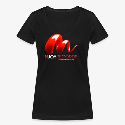 Logo Njoy Records Blanc - T-shirt bio col V Stanley & Stella Femme