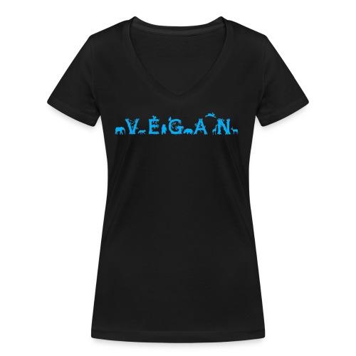 Vegan - Tiere - Frauen Bio-T-Shirt mit V-Ausschnitt von Stanley & Stella