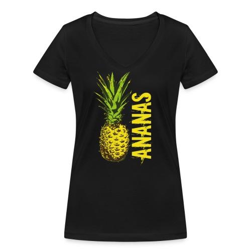 Ananas - Frauen Bio-T-Shirt mit V-Ausschnitt von Stanley & Stella