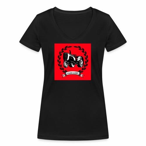 KonradSB czerwony - Ekologiczna koszulka damska z dekoltem w serek Stanley & Stella