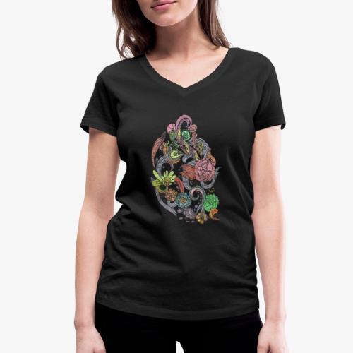 Flower Power - Rough - Ekologisk T-shirt med V-ringning dam från Stanley & Stella