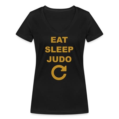 Eat sleep Judo repeat - Ekologiczna koszulka damska z dekoltem w serek Stanley & Stella