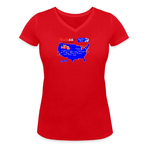 Route66++-01 - Stanley & Stellan naisten v-aukkoinen luomu-T-paita