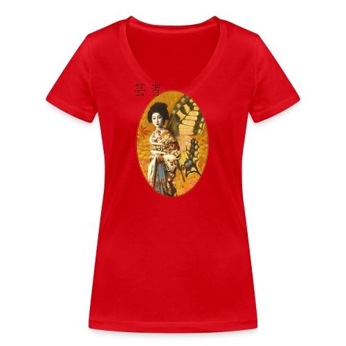 Vintage Japanese Geisha Oriental Design - Women's Organic V-Neck T-Shirt by Stanley & Stella
