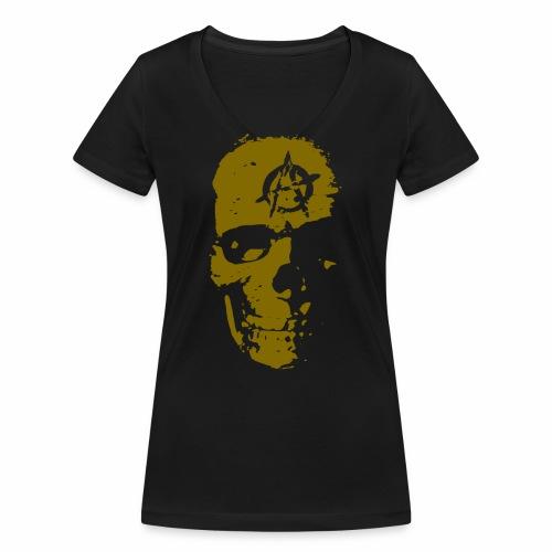 Anarchie Schädel Anarchy Skull Gold Geschenk Ideen - Frauen Bio-T-Shirt mit V-Ausschnitt von Stanley & Stella
