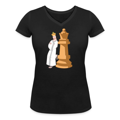 Samurai with Queen - Women's Organic V-Neck T-Shirt by Stanley & Stella