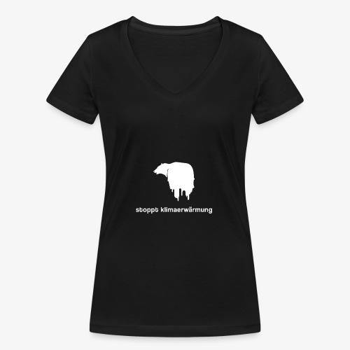 Stoppt Klimaerwärmung / Eisbär - Frauen Bio-T-Shirt mit V-Ausschnitt von Stanley & Stella