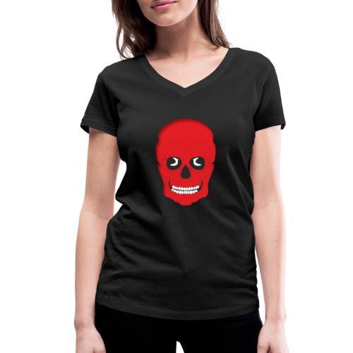 Calavera roja - Camiseta ecológica mujer con cuello de pico de Stanley & Stella