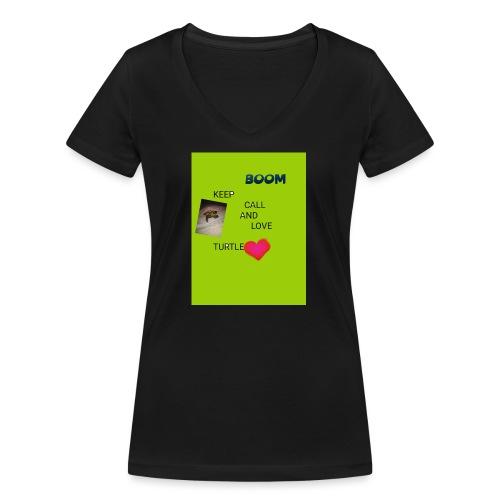 Keep call and love turtle - Stanley & Stellan naisten v-aukkoinen luomu-T-paita
