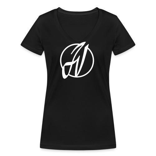 JV Guitars - logo blanc - T-shirt bio col V Stanley & Stella Femme