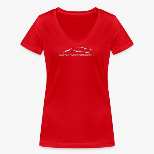SUP logo valkea - Stanley & Stellan naisten v-aukkoinen luomu-T-paita