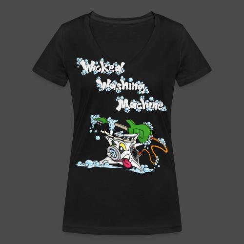 Wicked Washing Machine Cartoon and Logo - Vrouwen bio T-shirt met V-hals van Stanley & Stella
