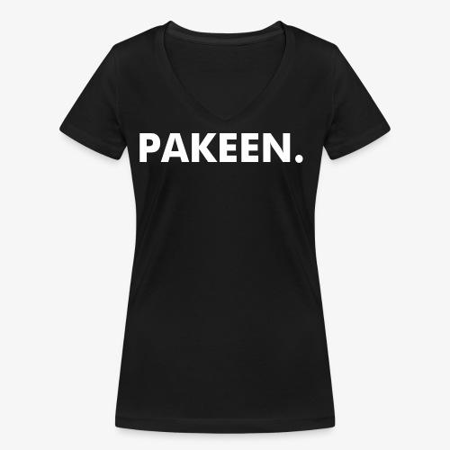 PAKEEN. Zwart - Vrouwen bio T-shirt met V-hals van Stanley & Stella
