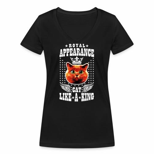 20 Royal Appearance Red Cat like a King Crown - Frauen Bio-T-Shirt mit V-Ausschnitt von Stanley & Stella