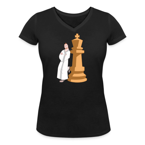 Samurai with King - Women's Organic V-Neck T-Shirt by Stanley & Stella
