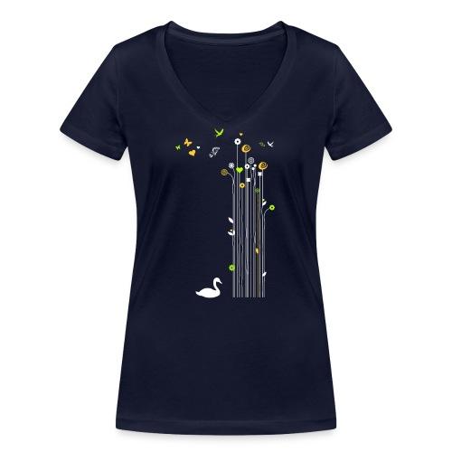 Frühling Schwan Blüten Schmetterlinge Valentinstag - Women's Organic V-Neck T-Shirt by Stanley & Stella