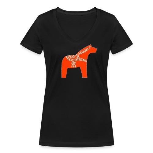 Dala by Pinni Art® rot - Frauen Bio-T-Shirt mit V-Ausschnitt von Stanley & Stella