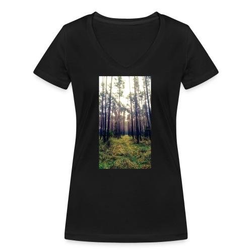 Las we mgle - Ekologiczna koszulka damska z dekoltem w serek Stanley & Stella