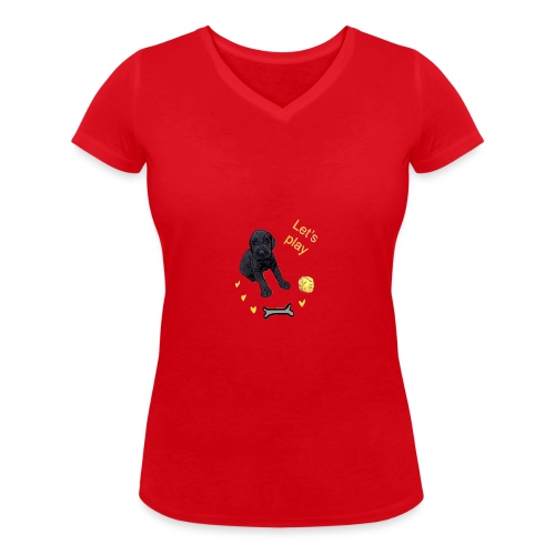 Giant Schnauzer puppy - Women's Organic V-Neck T-Shirt by Stanley & Stella