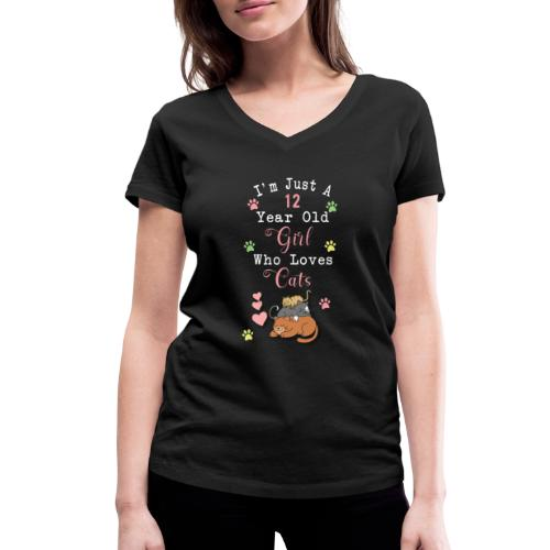 I'm just a 12 year old girl who loves cats - T-shirt bio col V Stanley & Stella Femme