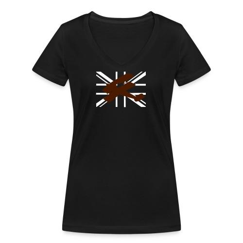 ukflagsmlWhite - Women's Organic V-Neck T-Shirt by Stanley & Stella