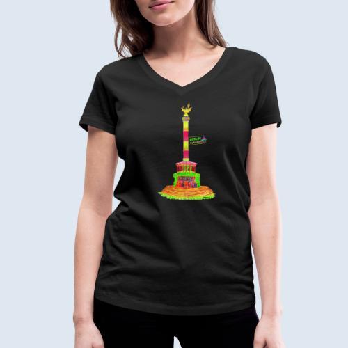 """Berliner Original """"Siegessäule"""" PopArt Design - Frauen Bio-T-Shirt mit V-Ausschnitt von Stanley & Stella"""