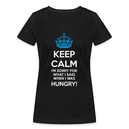 Hungry Keep Calm - T-shirt ecologica da donna con scollo a V di Stanley & Stella