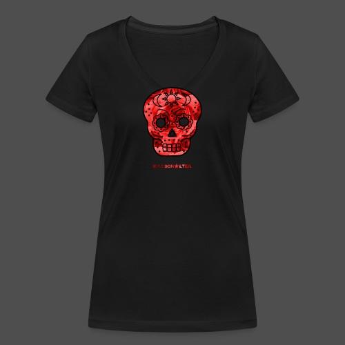 Skull Roses - Ekologiczna koszulka damska z dekoltem w serek Stanley & Stella